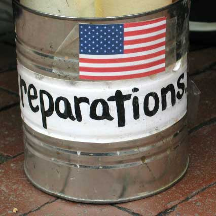 reparations owed by USA war crimes occupation exploitation illegal wars